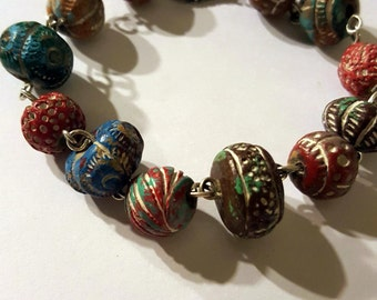 South Western Beaded Bracelet in Blue, Red, and Brown