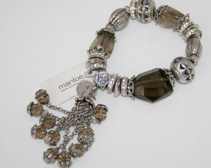 Designer Mariloé Silver Tassel Bracelet Rhinestones