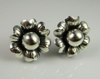 Unique art Deco Screw On Earrings Vintage Floral Silver Earrings One of a kind Sterling Earrings