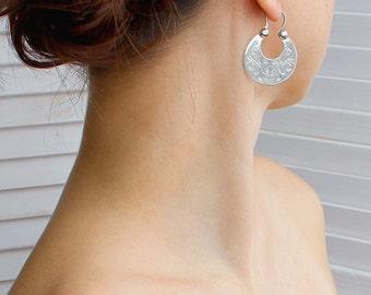 Hoop earrings sterling silver - silver dangle earrings, ukrainian hoops earrings, silver ethnic earrings, big hoop earrings