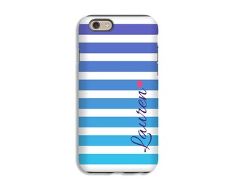 Personalized iPhone SE case, ombre' stripes iPhone 6s case/6s plus case, blue iPhone 5c case, iPhone 5s, 3D iPhone case, tough iPhone case