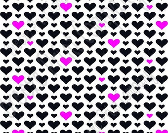 White with black and magenta heart craft  vinyl sheet - HTV or Adhesive Vinyl -  Valentine's Day HTV3927