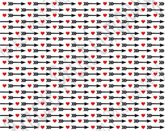 White with red heart and black arrow pattern craft  vinyl sheet - HTV or Adhesive Vinyl -  Valentine's Day HTV3701