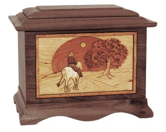 Walnut Heartland Sunset Rider Ambassador Wood Cremation Urn