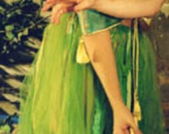 Handmade Green Skirt of Chiffon Scarves