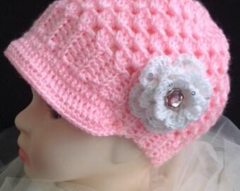 Girl's Crocheted Newsboy Cap