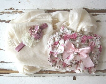 Dusty pink bloomer, mauve bloomer, floral bloomer, dusty rose bloomer ruffle bloomers, satin bloomer, satin diaper cover, newborn photo prop