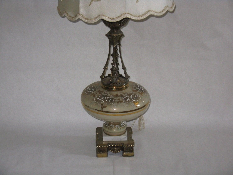 large vintage table lamp original shade green gold marble. Black Bedroom Furniture Sets. Home Design Ideas