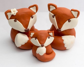 Fondant fox cake toppers - See shipping section below for turnaround time