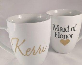Maid of Honor coffee mug - custom coffee mugs - maid of honor gift - bridesmaid mugs - bridal party gift - gold coffee mugs - bride - bridal