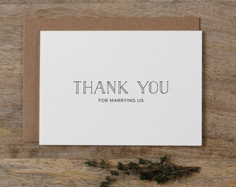 Thank you for Marrying Us - Wedding Card to Officiant, Priest Thank You Card, Thank You Minister, Judge, Pastor, Priest, Thank You Cards, K5