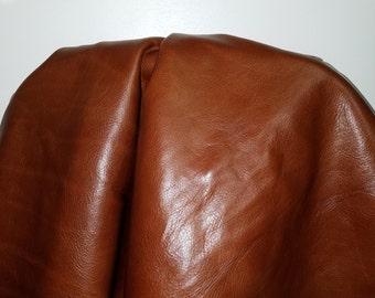 Cognac Brown Tan soft nappa 16-21 sq.ft full skin 2.5-3.0 oz Genuine leather upholstery craft handbag cowhide NAT Leathers