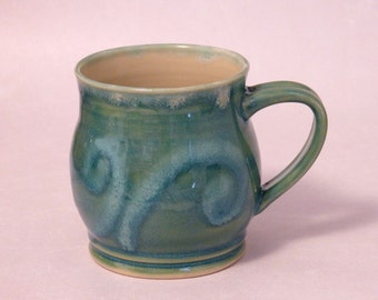 Waves Pottery Mug, 16 ounce (aqua, teal, coffee mug, tea cup, stoneware, ceramic, mug, glossy glaze)