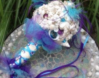 Beach Bouquet, Seashell Bouquet, Jeweled Bouquet, Purple Blue Bouquet, Destination Wedding, one-of-a-kind bouquet
