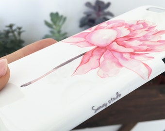 Watercolor phone case, Pink Peony watercolor iPhone 7 case, iPhone 6s cover, Watercolor Samsung Galaxy S7 floral phone case, unique iphone 5