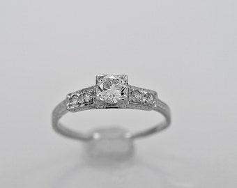 Antique Engagement Ring .35ct. Diamond & 18K White Gold Art Deco - J35771