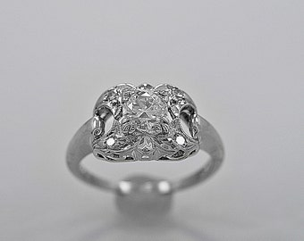 Antique Engagement Ring .53ct. Diamond & White Gold - J35587