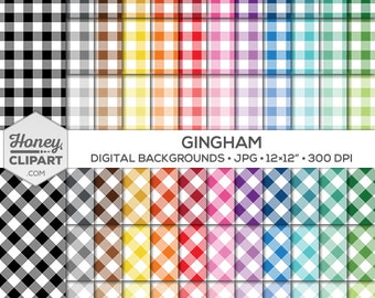 Gingham Digital Paper - Diagonal Gingham Seamless Patterns - Checker Squares - Printable Gingham Backgrounds in Red, Blue, Pink, Green, Gray