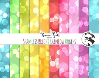 Seamless Bright Rainbow Bokeh Digital Paper Set - Personal & Commercial Use
