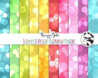 50% OFF Seamless Bright Rainbow Bokeh Digital Paper Set - Personal & Commercial Use