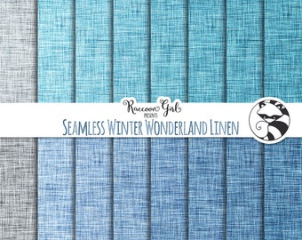 50% OFF Seamless Winter Wonderland Linen Digital Paper Set - Personal & Commercial Use