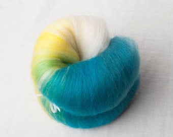 Gradient Merino/Corriedale Mini batt in white, yellow and teal (#160037)