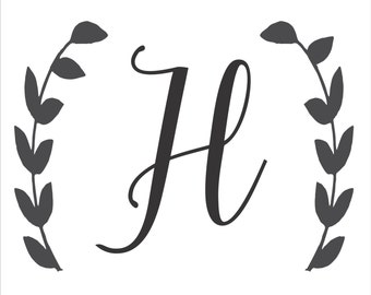 Custom Monogram Letter with Wreath **Reusable STENCILS** w/wreath- 8 Sizes Available- Create Custom Pillows,  Wedding signs and Wall Art!