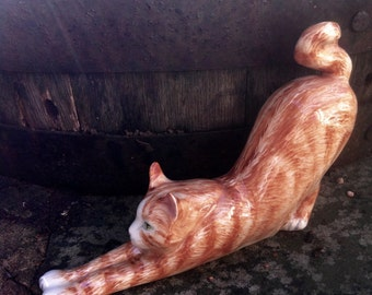 Cat figurine, stretching cat Frisky, cat sculpture, hand-painted cat by Clare McFarlane