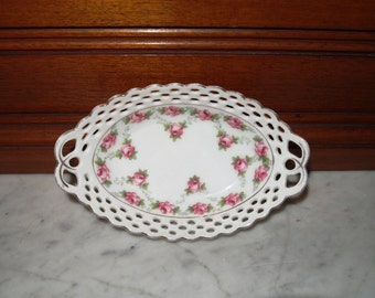 German Porcelain Oval Bowl Pink Cabbage Roses Reticulated Dish Early 1900's