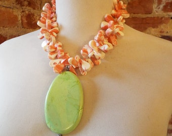 AKA Sorority Inspired Statement Necklace w/Pink and White Coral and Green Turquoise Howlite Pendant