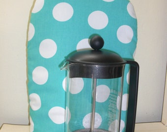 French Coffee Press Cozy Cafetaire Cover Insulated with InsulBright and Warm Fleece Teal with Big White  Dots