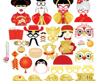 50 Funny Chinese Lunar New Year 2016 Photo Booth Props DIY Digital File PDF Instant Download
