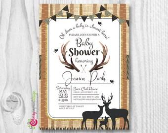 Oh Deer Burlap Rustic Baby Shower Invitation - Family Deer - Deer Horn - Gender Neutral Invitation Printable DIY (JPEG or PDF)