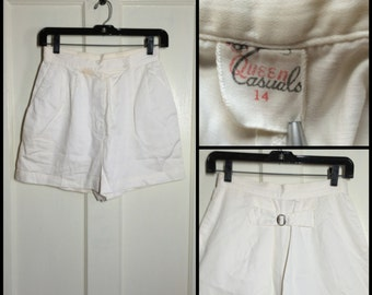 Vintage 1940s 1950's white Buckle back Gabardine pleated short shorts 26 inch high waist Queen Casuals As-Is