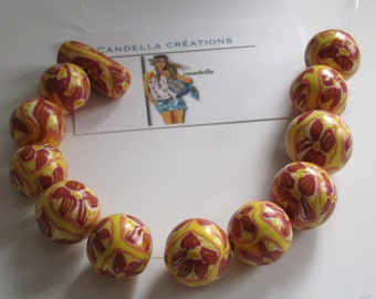 Accessory/clays beads/lot polymer beads in hand made polymer clay supplies/round beads