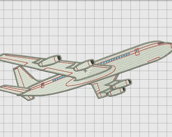 Airplane Airliner Airbus Detailed Embroidery Design in 4x4 5x7 and 6x10 Sizes