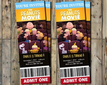 Peanuts Movie Invitation Ticket