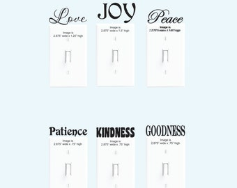 Switchplate decals - Wall Decals - Vinyl Decals - Love, Joy, Peace, Patience, Kindness, Goodness, Faithfulness, Gentleness, Self Control