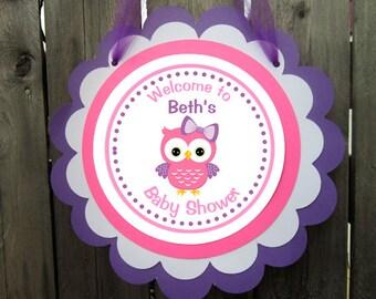 Owl Door Sign, Owl Door Hanger, Owl Baby Shower Sign, Owl Birthday Sign