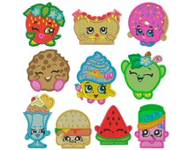 SHOPKINS 1 - Machine Embroidery - 10 Patterns in 3 Sizes - Instant Digital Download