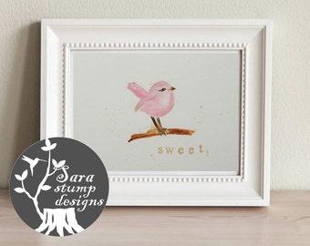 Sweet Pink Bird - Watercolor Print, High Quality