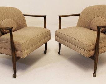 Mid Century Modern Kofod Larsen Pair of Lounge Barrel Chairs on Casters Walnut