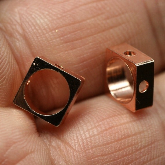 "10 pcs rose gold brass square 8 x 8 mm 5/16"" x 5/16""  finding square industrial design (7 mm 9/32"" hole ) 1270RG"