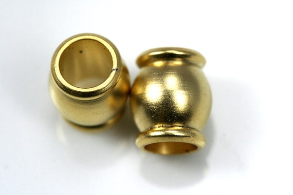 4 pcs  10 x 11.5 mm ( holes 6.5 mm ) gold plated solid brass spacer, brass bead , findings 907 bab6.5