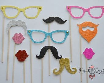 Lips, Mustache, Glasses, Photh booth props SET of 11