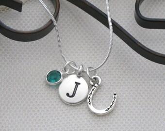 Horseshoe Necklace, Personalized Horse Shoe Necklace, Horse Shoe Jewelry Gifts, Letter Birthstone, Silver Horse Shoe Necklace, Horse Shoe
