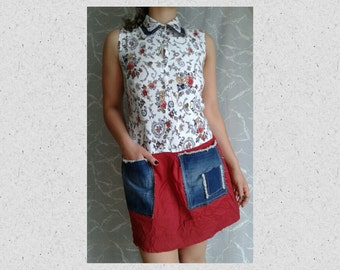 S-M size,red,white,navy, colourful, t-shirt dress  ,reconstructed, refashioned,repurpose,  sleeveless,