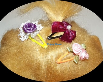 Puppy Bows ~Barrette snap clip FLOWERS bow Maltese ~USA seller