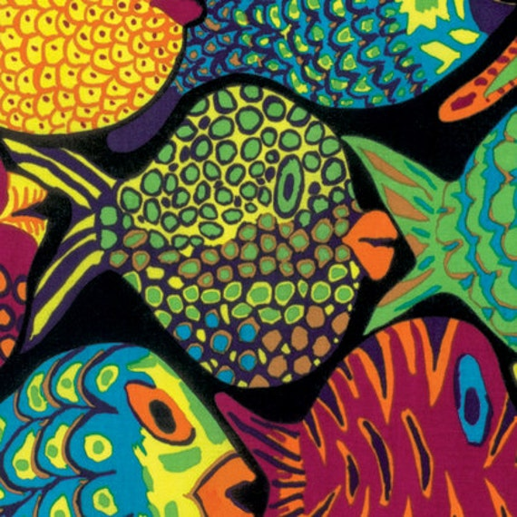 SHOAL BLACK bm051 Fish by Brandon Mably for Kaffe Fassett Collective Sold in 1/2 yd increments