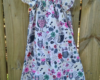 Owl Peasent Dress Owl Flutter Sleeve Girls Dress